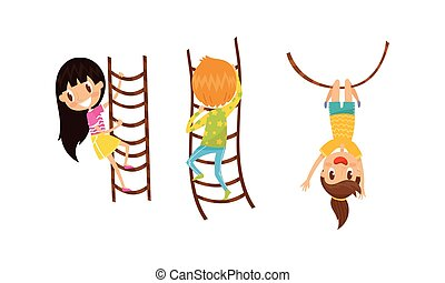 Little Boy and Girl Climbing Ladder and Swinging on Rope Vector Set