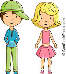 Little boy and girl isolated