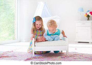 Little boy and girl meet new sibling - Cute little boy and ...