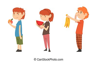 Little Boy and Girl Showing Dislike and Disgust Towards Fruit Vector Set. Kid Displaying Eating Preference Refusing Eating Healthy Food Concept