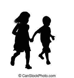 Little boy and girl silhouette running together