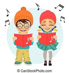 little boy and girl singing Christmas carols. Vector...