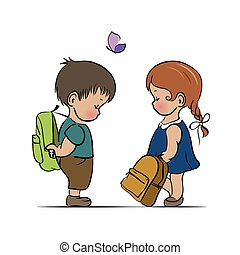 Little boy and girl with backpacks