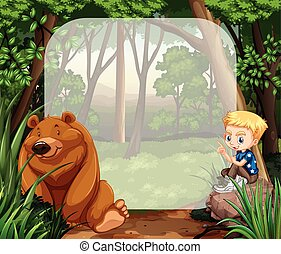 Little boy and grizzly bear in the jungle