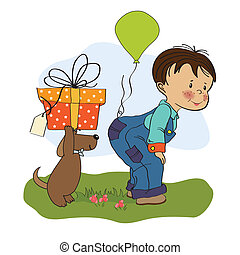 little boy and his dog, birthday card