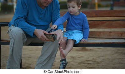 Little boy and his grandfather