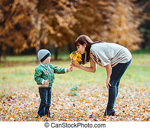 Little boy and his mother in the autumn park