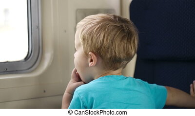 Little boy and his mother in the train.