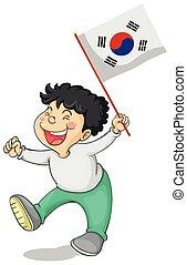 Little boy and South Korea flag