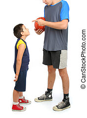 little boy asking big man to play basketball . From my sport...
