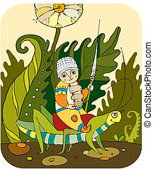 Little boy astride on a grasshopper