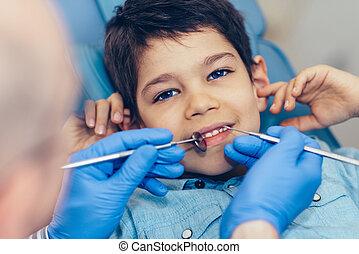 Little boy at regular dental check-up