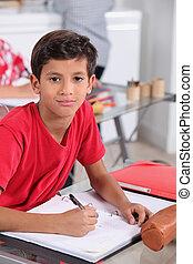 little boy at school