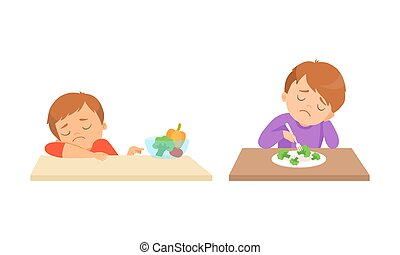 Little Boy at Table Showing Dislike and Disgust Towards Broccoli and Vegetable Vector Set. Kid Displaying Eating Preference Refusing Eating Healthy Food Concept