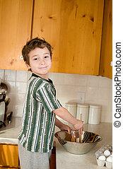little boy baking