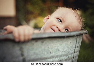 Little boy bathing outside - Cute funny little boy bathing...