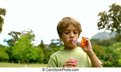 Little boy blowing bubbles - Little boy blowing bubbles in...