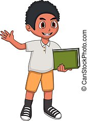 Little boy bring a book and waving