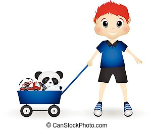 Little boy bring his toys with cart - colourfull
