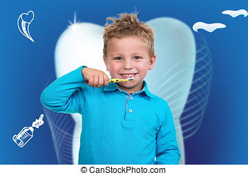 Little Boy Brushing Teeth with dental background