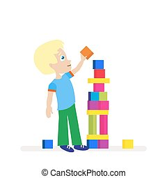Little boy building a big tower of colorful cubes. A child plays. Young builder. Flat character isolated on white background. Vector, illustration EPS10.