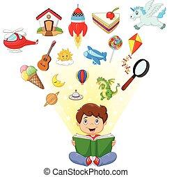 Little boy cartoon reading book - boy, fun, vector, history,...