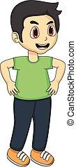 Little boy cartoon with green skirt
