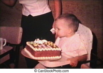 Little Boy Celebrates A Birthday