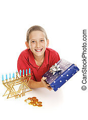 Little Boy Celebrates Hanukkah