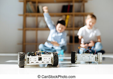 Little boy celebrating victory in a racing game