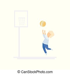 Little boy character playing basketball, family lifestyle concept vector Illustration on a white background
