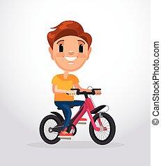Little boy character riding bike. Vector flat cartoon illustration