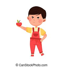 Little Boy Character Showing Dislike Towards Apple Vector Illustration. Kid Displaying Eating Preference Concept