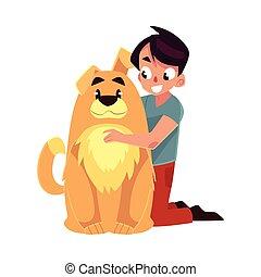 Little boy, child, kid with big fluffy brown dog friend, companion