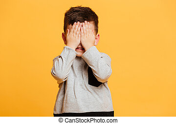 Little boy child standing isolated