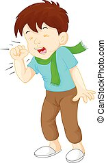 little boy coughing - vector illustration of little boy...