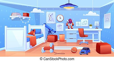 Little boy cozy bedroom interior cartoon vector