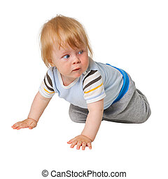 Little boy crawling on white