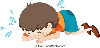 Little boy crying alone