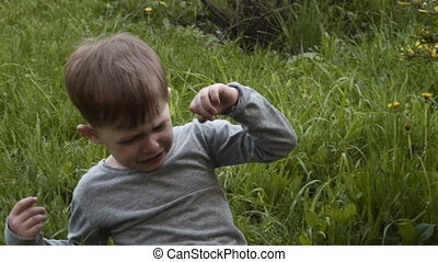 Little boy crying in the park