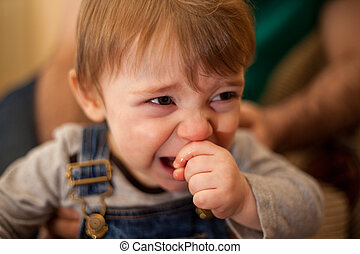 Little boy crying next to his dad - Cute baby boy acting all...