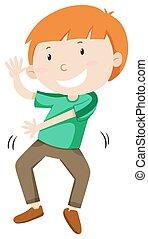 Little boy dancing alone