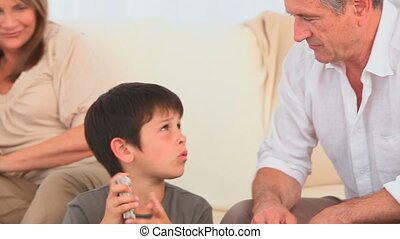 Little boy dealing the cards