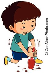 Little boy digging hole with garden spoon