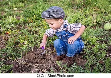 Little boy digging in garden