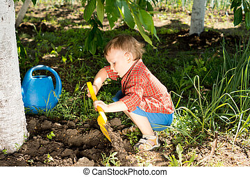 Little boy digging in the garden at the foot of a tree with...