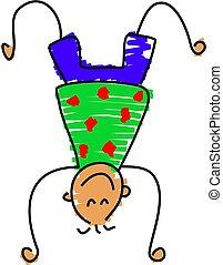little boy doing a handstand - toddler art