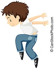 Little boy doing breakdancing alone illustration