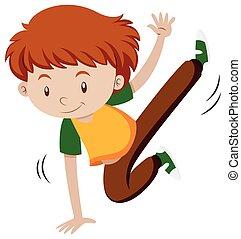 Little boy doing breakdancing illustration