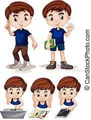 Little boy doing different activities illustration